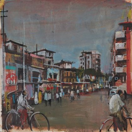 Akash Bhatt Akash Bhatt Sidewalk, Mixed Media on Paper 15 x 15 cm.