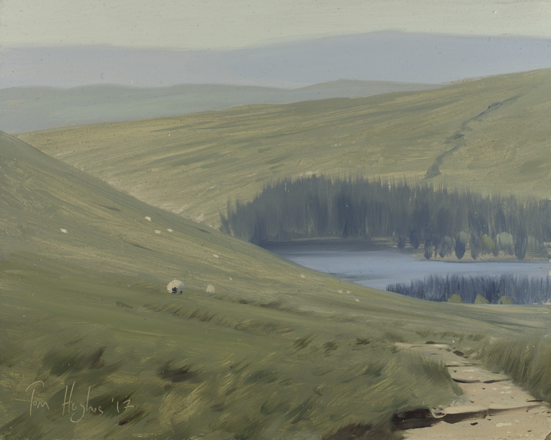 Tom Hughes Beacons Reservoir from Corn Du with Sheep - May, Oil on board 20 x 25 cm.