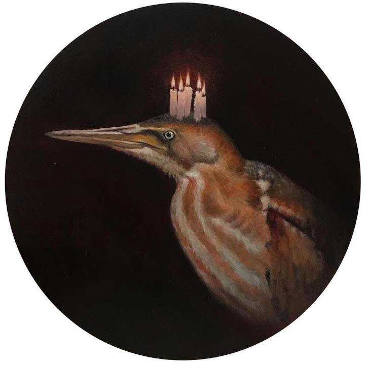 Lucy Eglington Bittern, Oil on copper diameter 16 cm.
