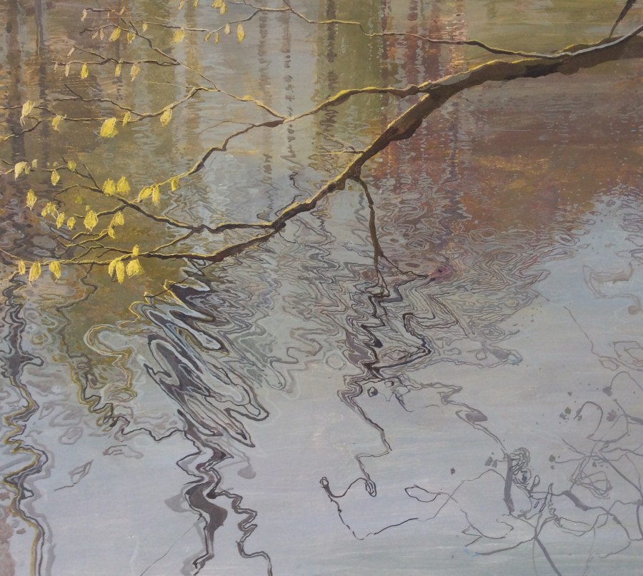 Ruth Stage Bough with Reflections, Egg tempera on gesso board 70 x 80 cm.