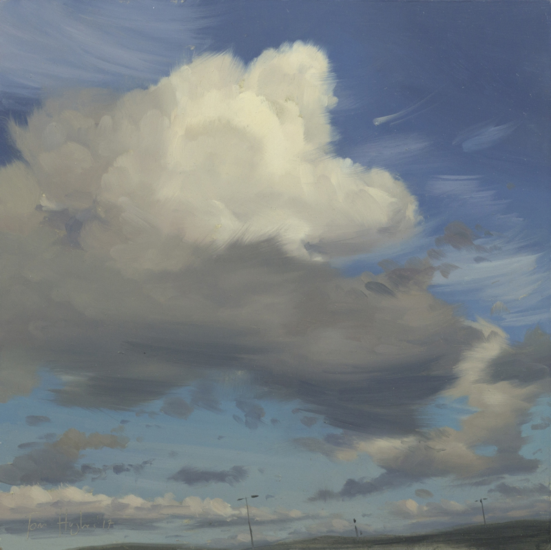 Tom Hughes Cloud Forms I, Oil on board 25 x 25 cm.