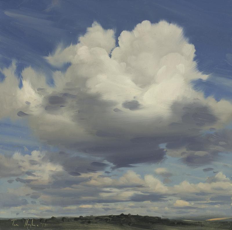Tom Hughes Cloud Forms II, Oil on board 25 x 25 cm.