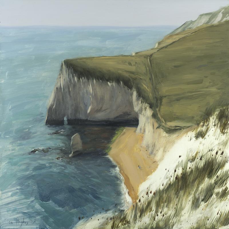 Tom Hughes Durdle Door, Oil on Board 40 x 40 cm.