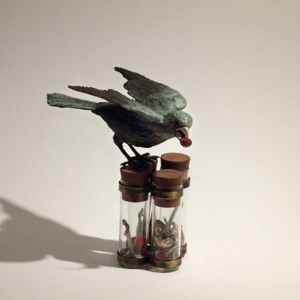Patrick Haines Redstart, Bronze and found objects Ed. of 10 h16 x 14 x 10 cm.