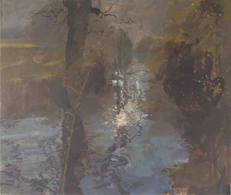 Ruth Stage River Even, Egg tempera on gesso board 71 x 84 cm.