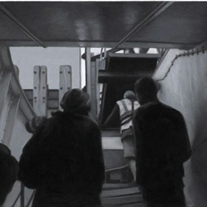 Nicholas Middleton Waiting to Disembark, Oil on paper on card 10 x 15 cm.