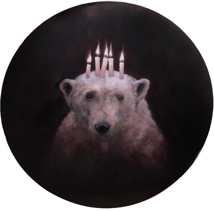Lucy Eglington Bear, Oil on copper diam. 16 cm