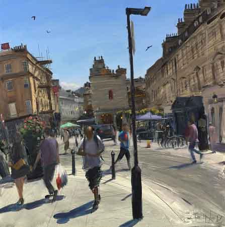 Tom Hughes Milsom Street Shoppers, Oil on board 40 x 40 cm.