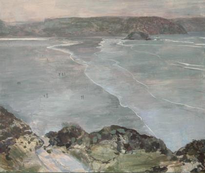 Ruth Stage Cornish Headland View, Egg tempera on gesso board 100x120