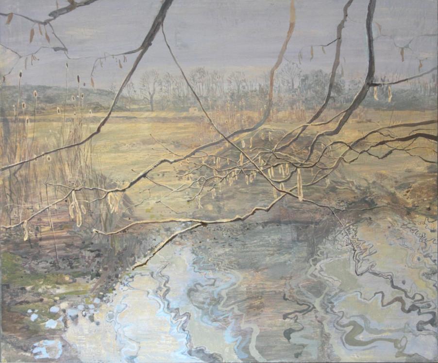 Ruth Stage Farmland Suffolk, Egg tempera on gesso board 100 x 120 cm.