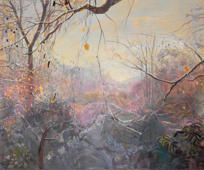 Ruth Stage Landscape with Frost, Egg tempera on gesso board 100 x 120 cm.