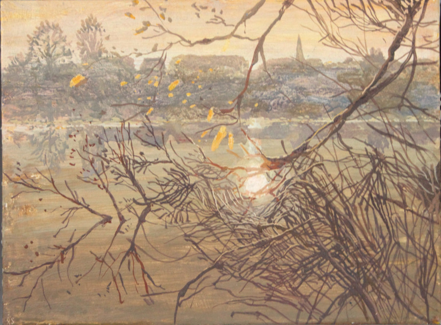 Ruth Stage Riverbank, Egg tempera on gesso board 26 x 34 cm.