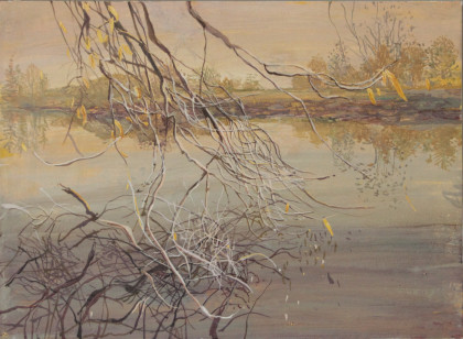 Ruth Stage Riverbank Autumn, Egg tempera on gesso board 38 x 51 cm.