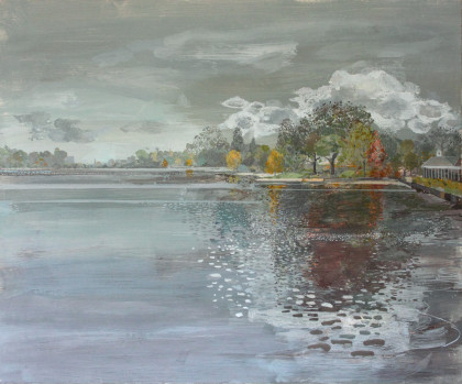 Ruth Stage Serpentine Panorama, Egg tempera on gesso board 100 x 120 cm.