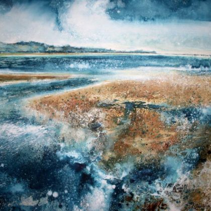 Stewart Edmondson Through the Heat Haze to Exmouth Point from Star Cross Flats, Acrylic on paper 95 x 99cm)