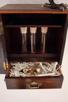Patrick Haines The Falcon cannot hear the Falconer, Bronze, antique smoking cabinet, found objects