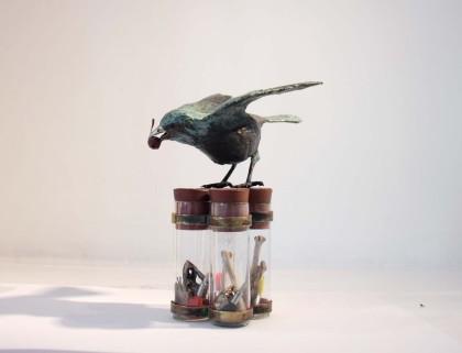 Patrick Haines Redstart, Bronze Bird, Antique Field test-tubes, Brass holder 15 x 11 x 12 cm. Ed. 10