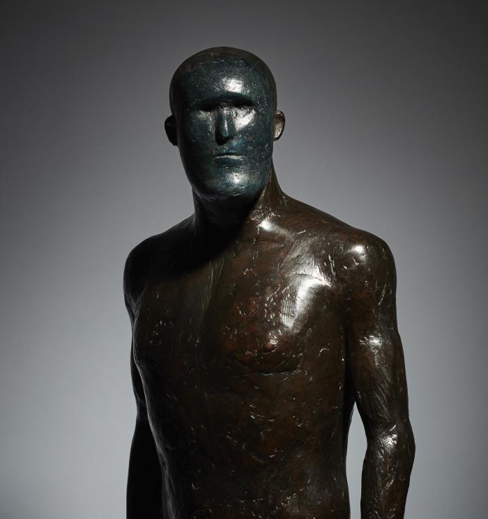 Anthony Scott Warrior Blue Mask, Bronze Ed. of 9 h73 x 30 cm.