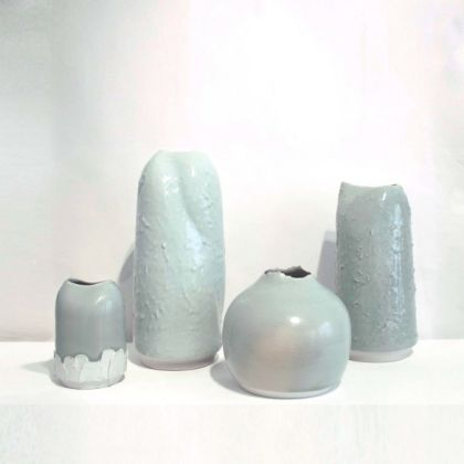 Tanya Gomez Four Vessels L to R: #18 15 x 11 cm. #12 36 x 15 cm. 19. 17 x 19 cm. #19 17 x 19 cm. All porcelain
