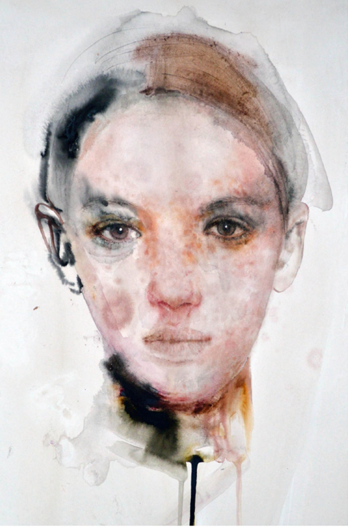 Martha Zmpounou Girl with Freckles 3, Watercolour on paper 52 x 43 cm.