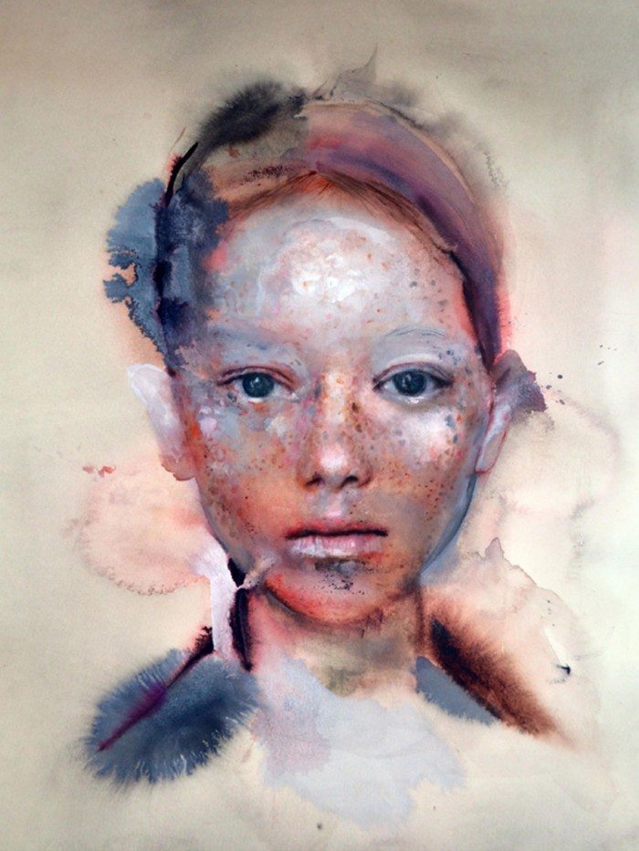 Martha Zmpounou Girl with Freckles 8, Watercolour and ink on paper 50 x 36 cm.