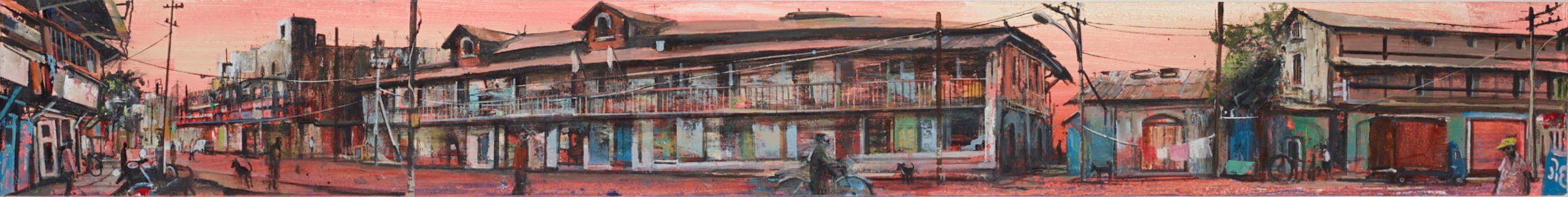Akash Bhatt Pathargate Road, Oil on canvas 15 x 122 cm.