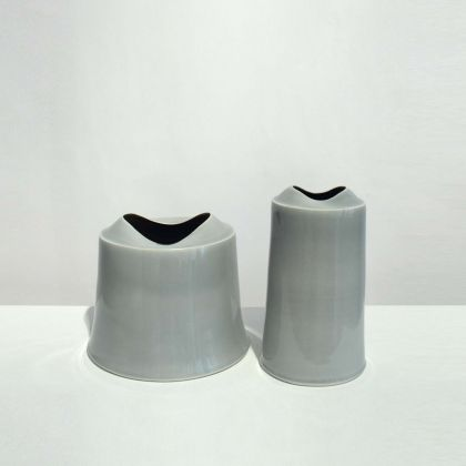 Tanya Gomez Small Medium Wide Ice Grey Vessels, Procelain h 21 x Diam 24 cm. Small Tall Ice Grey Vessel Porcelain 26 x 15 cm.