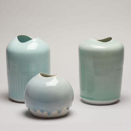 Tanya Gomez Small Tall Celadon Vessels, from left: Vessel #24 Porcelain h23 x 16 cm. Vessel #50 Porcelain h15 x 15 cm. Vessel #26 Porcelain h22 x 16 cm.