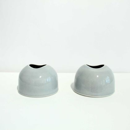 Tanya Gomez Table Vessels Porcelain Ice Grey Glaze 7.5 x 11.5 cm.
