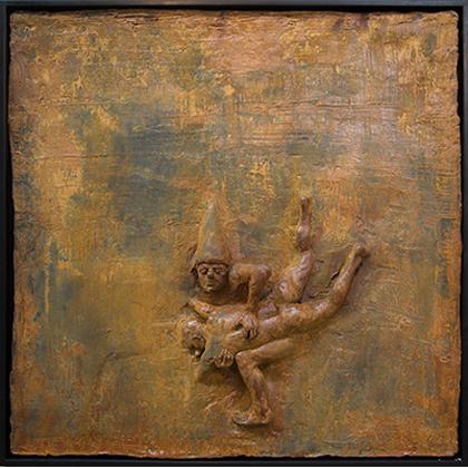 Beth Carter Fighting Clowns I, Iron Resin Ed. of 10 h84 x 84 cm.