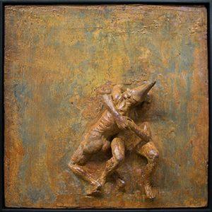 Beth Carter Fighting Clowns II, Iron Resin Ed. of 10 h84 x 84 cm.