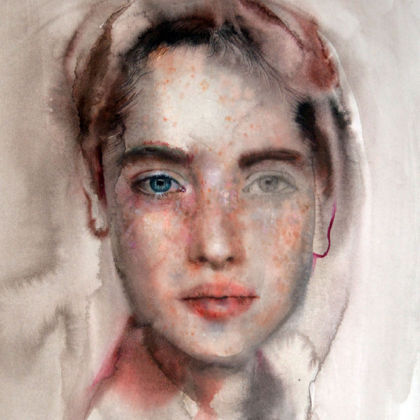 Martha Zmpounou Found Girl, Watercolour on Paper 40 x 50 cm.