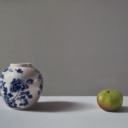Jo Barrett Still Life with White and Blue Ginger Jar and Bramley Apple JB 3