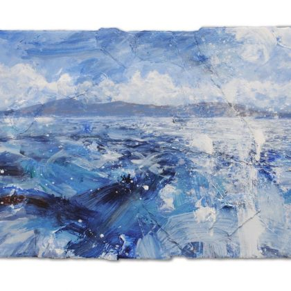Landfall, St Finbarr (Isle of Barra)', mixed media on paper, 60x78cm