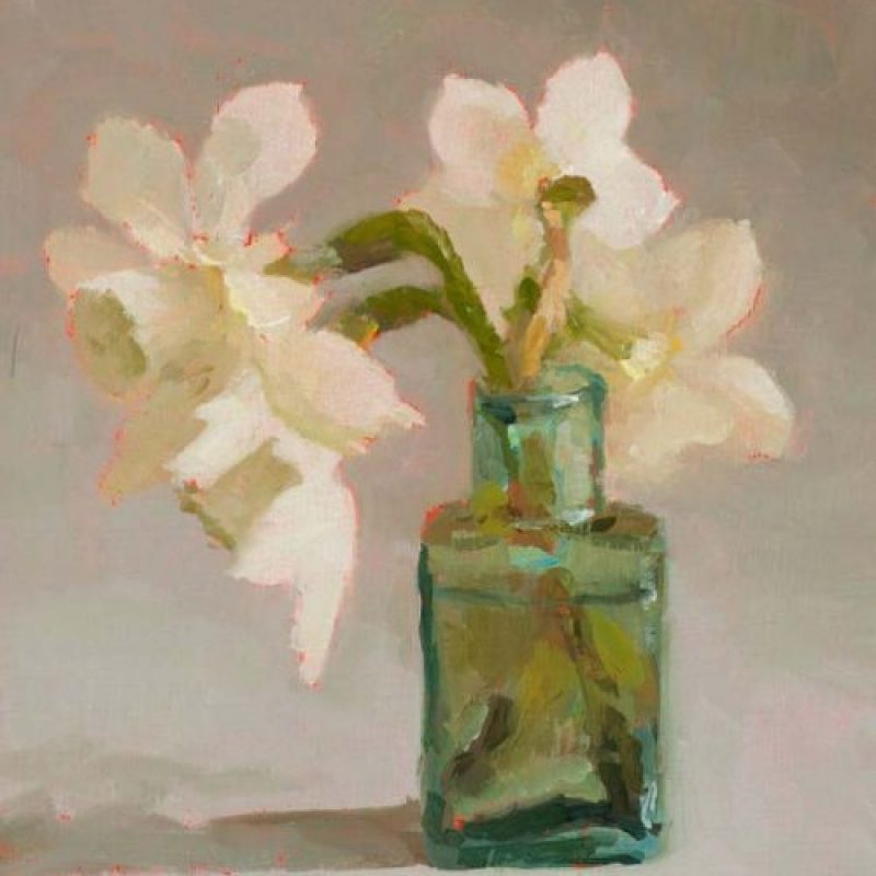 Helen Simmonds GreenBottle withNarcissus oil on board 18x12cm