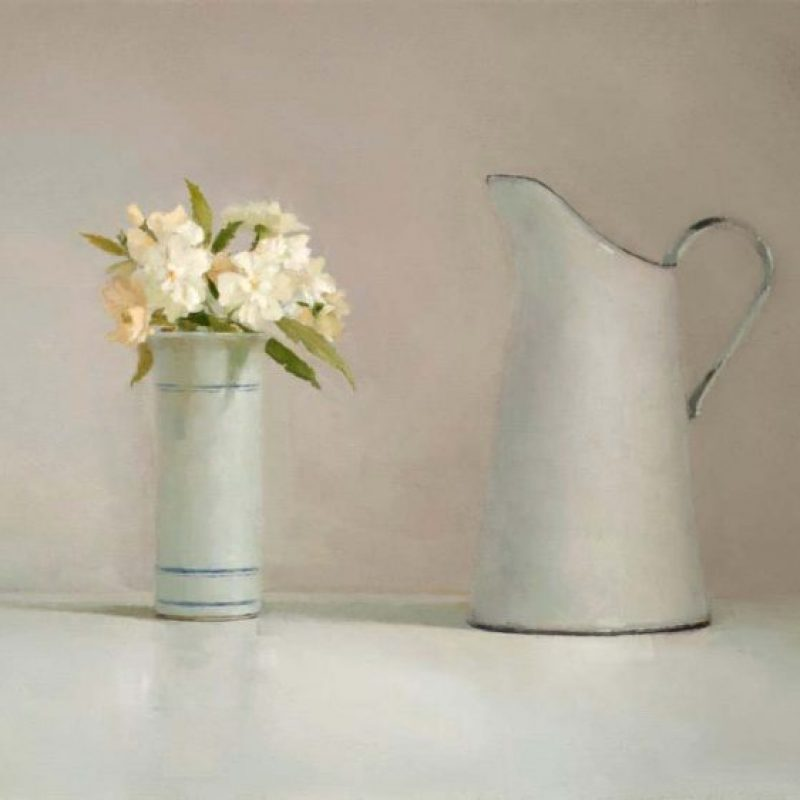 Helen Simmonds Striped Vase, Snow Goose and Jug, Oil on linen 41 x 51 cm.