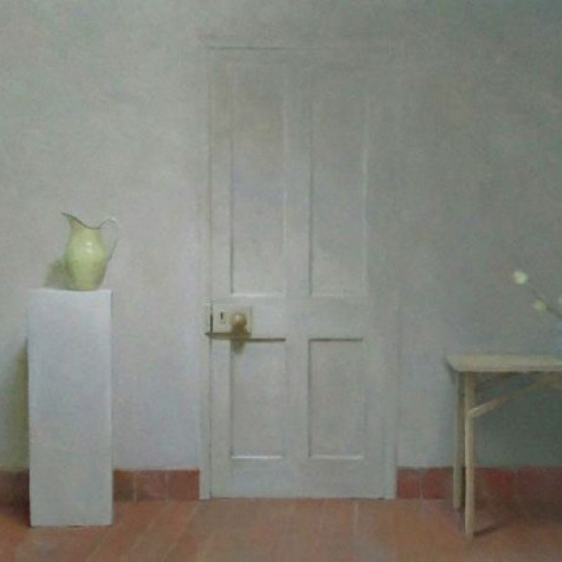 Helen Simmonds The Studio Door, Jug, and Tulips, Oil on linen 56 x 81 cm.