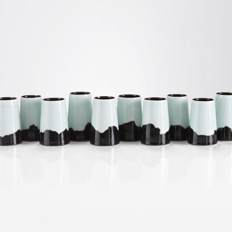 Chris Keenan - 'tomorrow - a landscape' - 10 x tenmoku and celadon vessels h.12cm