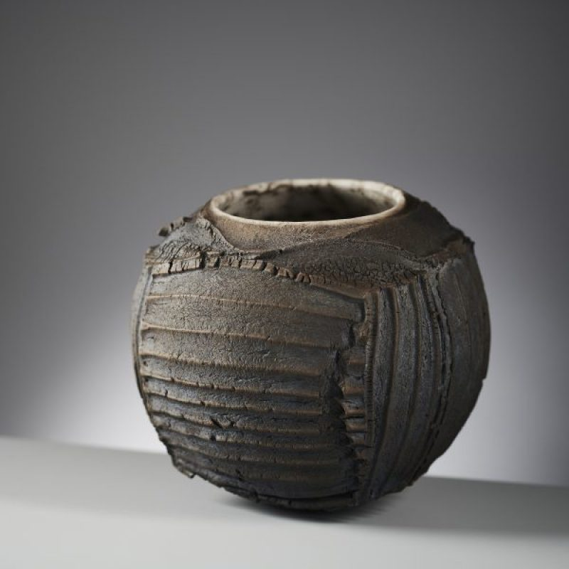 Patricia Shone Skye erosion bowl 34, Hand formed Raku-fired ceramic h18cm.