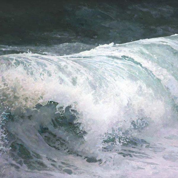 Dawnne McGeachy Eshaness Beaufort 12 - Over-Oil Ink Wax encaustic on canvas 76x120cm