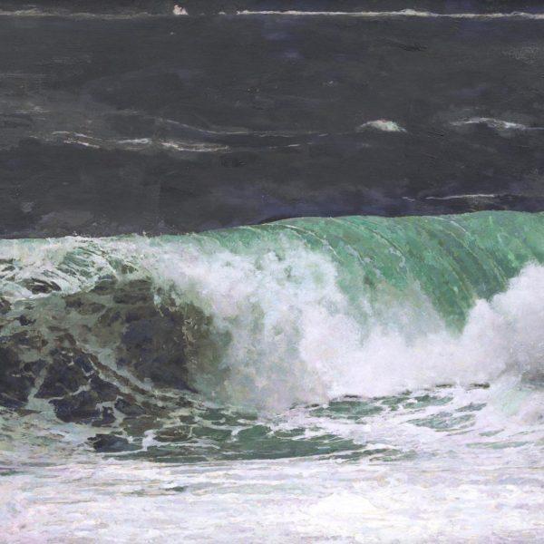 Dawnne McGeachy Eshaness Beaufort 12 - Rise Again, Oil ink and encaustic wax on canvas 76 x 120 cm.