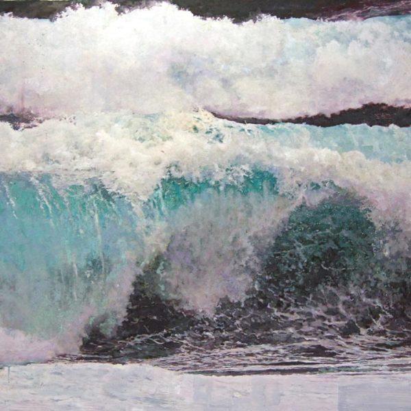 Dawnne McGeachy Force 12-Jake, Oil ink encaustic wax and pencil on canvas 92 x 123 cm.