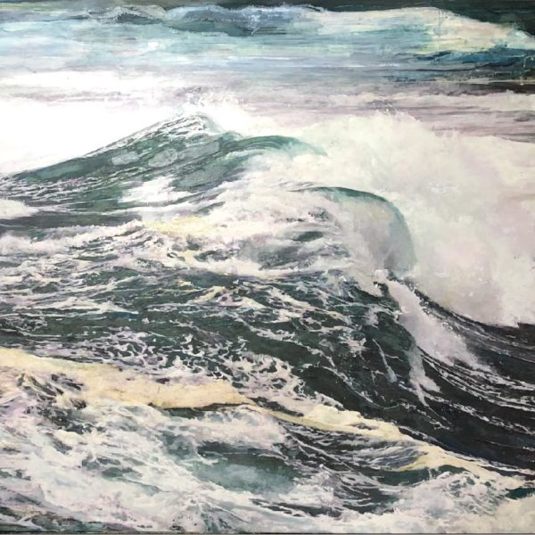 Dawnne McGeachy Force 12 - Stay Strong, Oil ink and encaustic wax on canvas 90 x 120 cm.