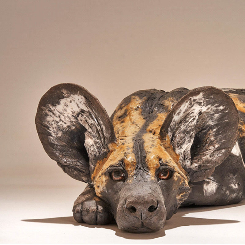 Nick Mackman Wild Dog Pup #4 Low Fired Ceramic 48 x 33 x 25 cm.
