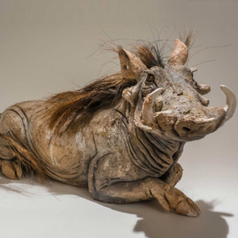 Nick Mackman Warthog 'You Lookin' at Me?', Low-fired ceramic 20 x 55 cm.