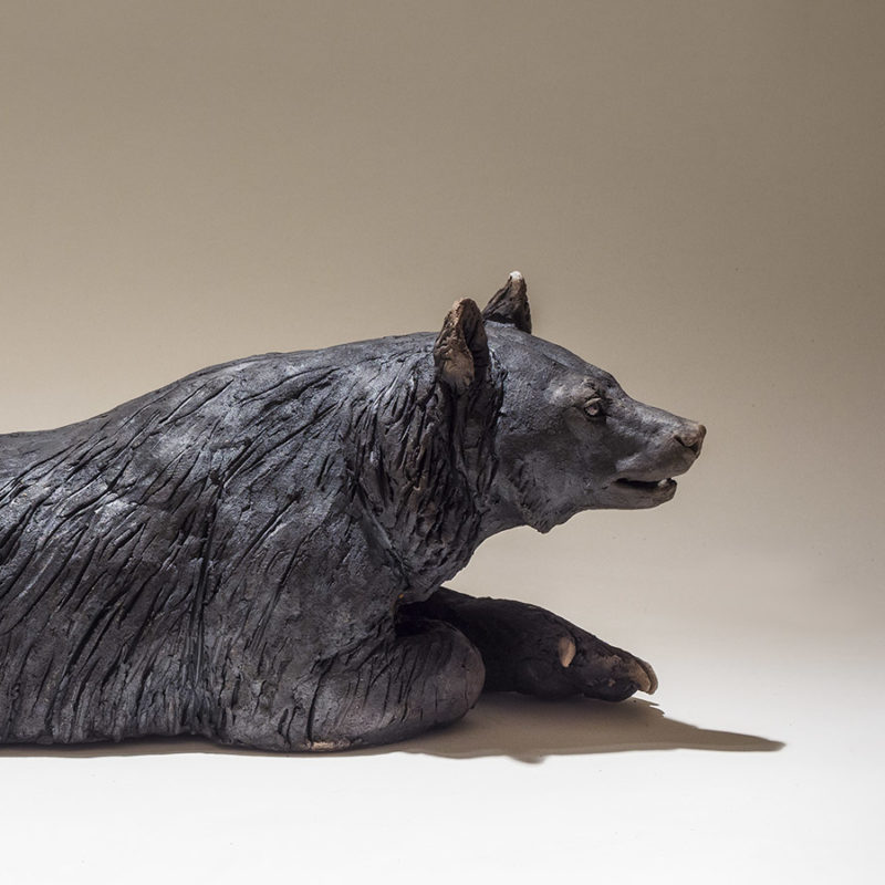 Nick Mackman Moon Bear Lying Low Fired Ceramic 48 x 21 x 17 cm.