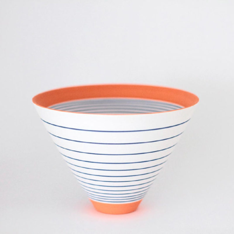 Sara Moorhouse 53. Small 'Pulse' bowl, Stoneware with hand painted underglazes h10 x 14.5 cm.