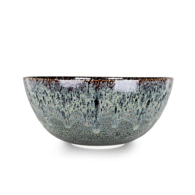 Albert Montserrat 12-Large Dark Bowl hand-thrown porcelain oilspot tenmoku glazes h25 x Ø55 cm.