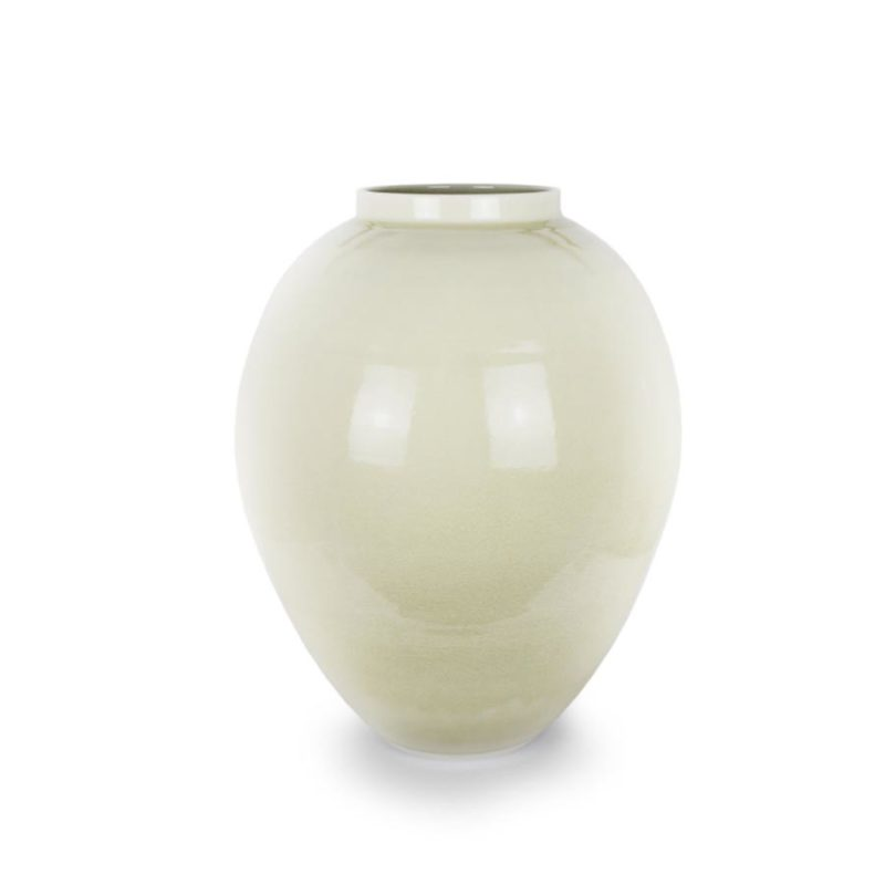 Albert Montserrat 15. Tall White Honey Crackle Jar Hand thrown porcelain dark honey glaze h56 x 47d