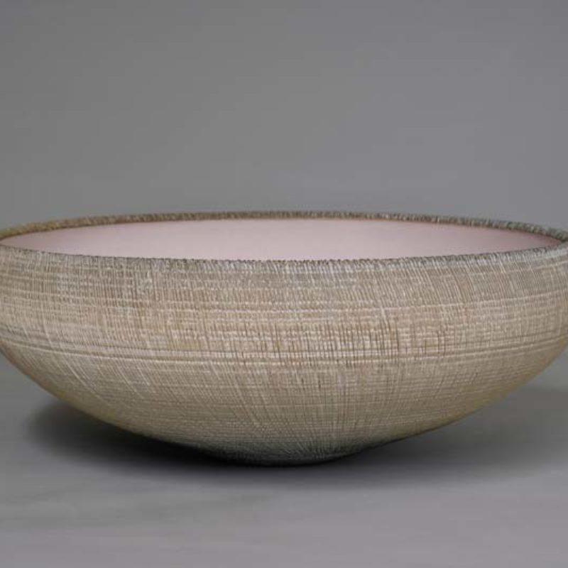 Christiane Wilhelm 8 Sandy Bowl with Pink Interior Stoneware ht. 15 x Ø 34 cm.